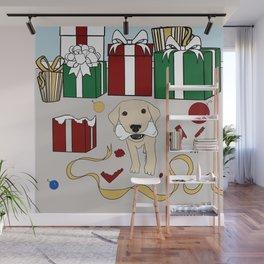 Yellow Lab Puppy At Christmas Wall Mural
