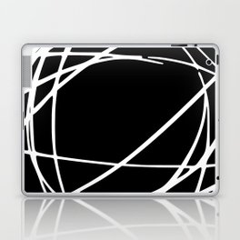 Black and White Circles and Swirls Modern Abstract Laptop & iPad Skin