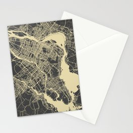 Montreal Map Stationery Cards