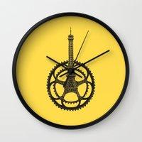 tour de france Wall Clocks featuring Le Tour de France by Foster Type