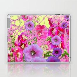 CONTEMPORARY PINK & LILAC HOLLYHOCKS ART Laptop & iPad Skin