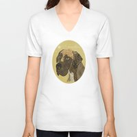 great dane V-neck T-shirts featuring the great dane by bri.buckley