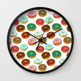 Christmas festive donuts holiday dessert junk food foodie pattern print red and green Wall Clock