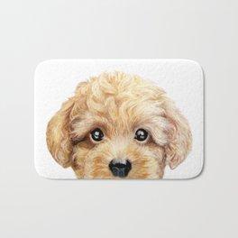 Toy poodle Dog illustration original painting print Bath Mat