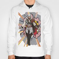 lichtenstein Hoodies featuring Assassisn Creed Ezio with a Roy Lichtenstein background by Peter Brown