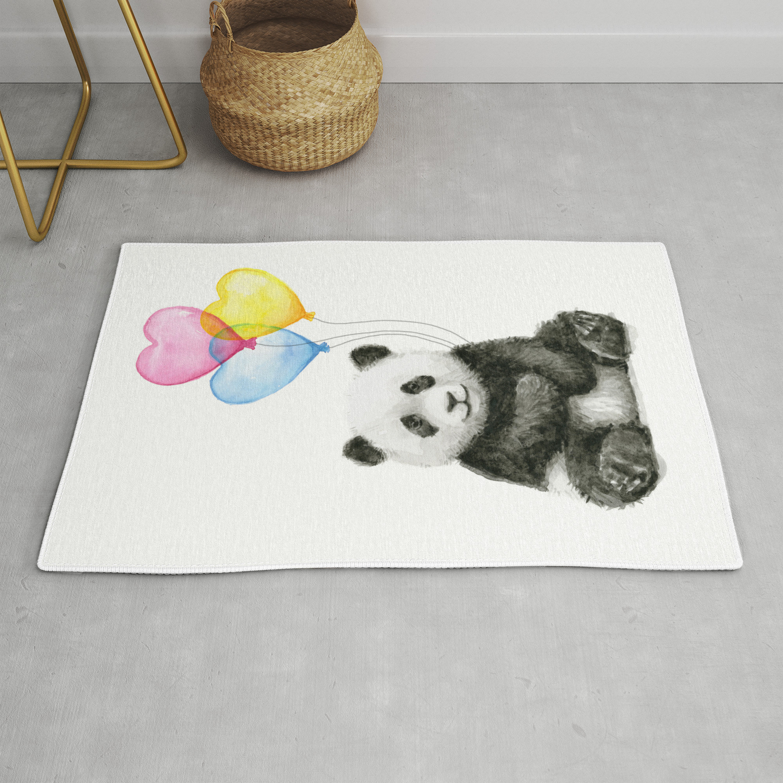 Panda Baby With Heart Shaped Balloons