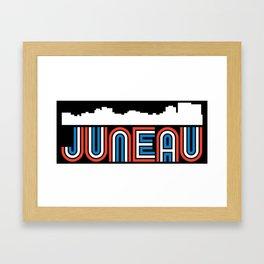 Red White Blue Juneau Alaska Skyline Framed Art Print