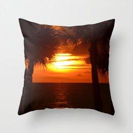 Sunset on The Florida Beach Throw Pillow