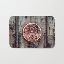 Rusted B&O Emblem Baltimore and Ohio Railroad Train Bridge Insignia Rust Bath Mat