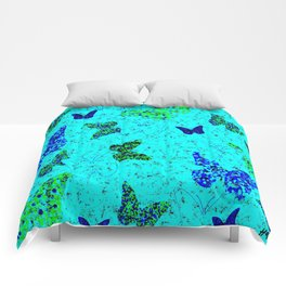 Butterflies on Pale Blue Comforters
