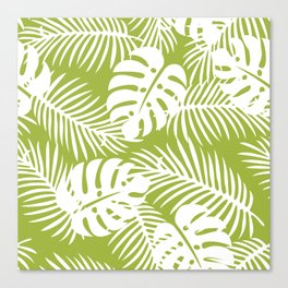 Olive Green Jungle Palm Leaves Pattern Canvas Print