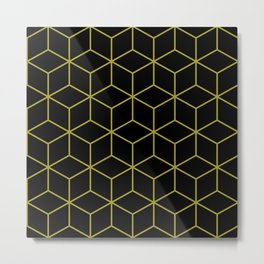 Cubes Pattern Gold and Black Metal Print