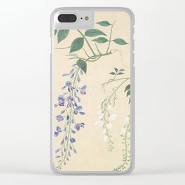 Japanese Botanical Ink and Brush Painting, Hand Drawing Flowers and Calligraphy Clear iPhone Case