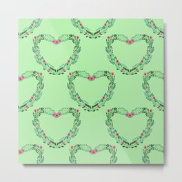 Heart Wreath Hand-painted in Green Ferns and Pink Blossoms on Mint Green Metal Print