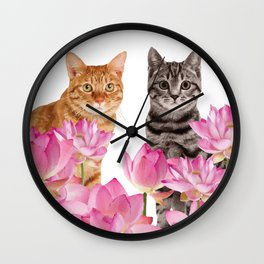 Red and Tiger cat in Lotos Flower Field Wall Clock