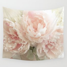 Shabby Chic Cottage Pastel Pink Peony Prints and Peony Home Decor Wall Tapestry