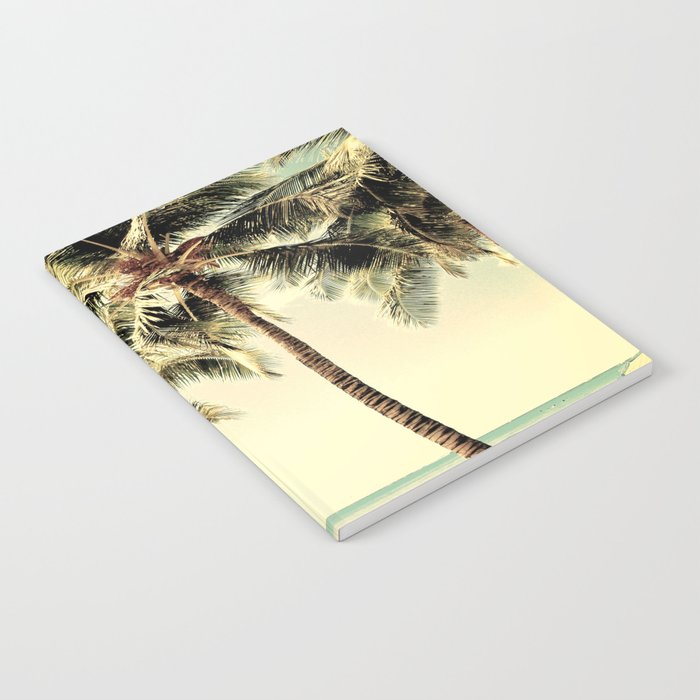 Retro Vintage Palm Tree with Hawaii Summer Sea Beach Notebook