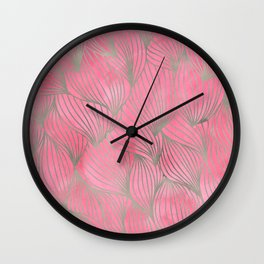 Pretty Pink Palm Petal Print Wall Clock