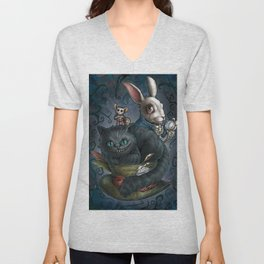 The Cheshire Cat and his friends Unisex V-Neck