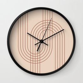 Geometric Lines in Terracotta 4 (Rainbow abstract) Wall Clock