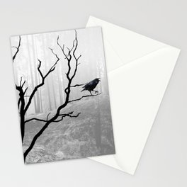 Black Crow in Foggy Forest A118 Stationery Cards