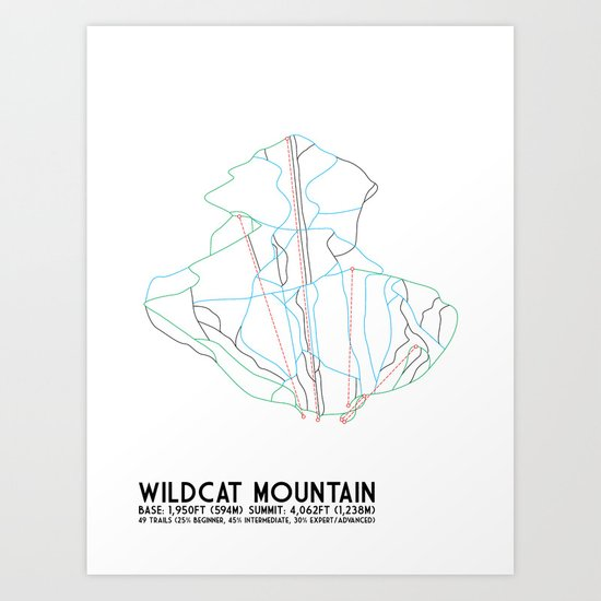 Wildcat Mountain, NH - Minimalist Trail Art Art Print