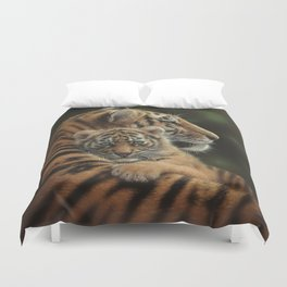 Tiger Mother and Cub - Cherished Duvet Cover