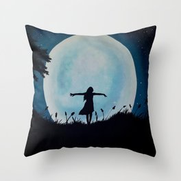 By The Light Of Moon Throw Pillow
