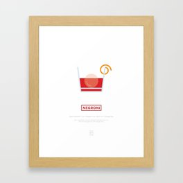 Negroni Cocktail Recipe Art Print (White) Framed Art Print