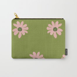 Colorful retro home decor and textile design flower pattern on olive Carry-All Pouch