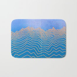 Abstract mountain line art in blue sky grunge textured vintage illustration background Bath Mat
