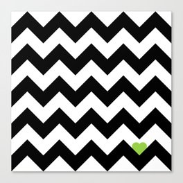 Heart & Chevron - Black/Green Canvas Print