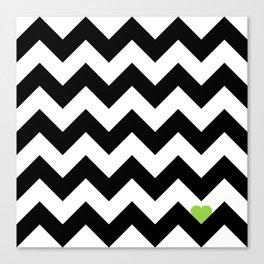 Heart & Chevron - Black/Green Canvas Print