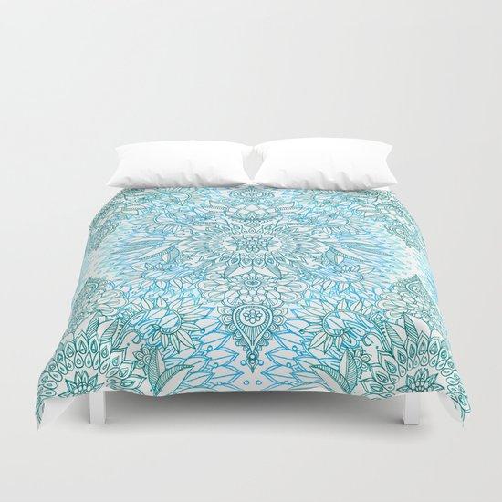 Turquoise Blue Teal Amp White Protea Doodle Pattern Duvet