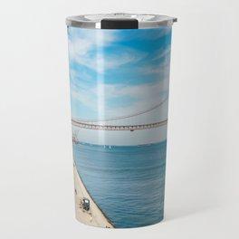 25 de Abril Bridge In Lisbon, Wall Art Print, Modern Architecture Art, Poster Decor, Large Printable Travel Mug
