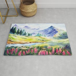Colorful nature landscape watercolor hand painted illustration background with mountain in blue sky. Quiet romantic fall daybreak scene. Rug