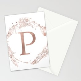 Letter P Rose Gold Pink Initial Monogram Stationery Cards
