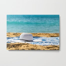 Travel Photography, White Beach Hat And Sunglasses, Summer Vacation, Holiday Time, Sea And Ocean Metal Print
