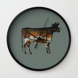 Winter cow Wall Clock