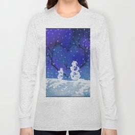 The Heart of Snowmen on a Winter Snowfall Day by annmariescreations Long Sleeve T-shirt