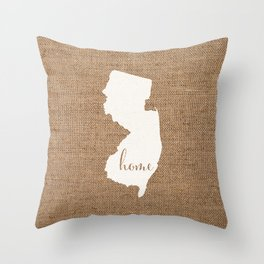 New Jersey is Home - White on Burlap Throw Pillow