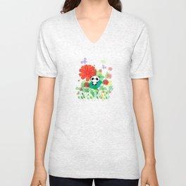 panda and flowers Unisex V-Neck