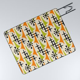 Mid Century Modern Atomic Wing Composition Orange and Chartreuse Picnic Blanket