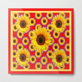 Red  & Violet Accents Color Sunflowers Pattern Art Metal Print