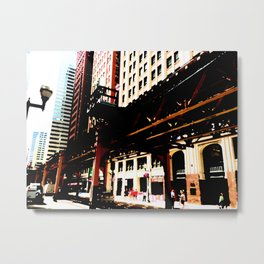 Chicago transit 'L' art print - industrial  urban photo - downtown Chicago, Illinois  Metal Print