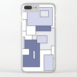 Squares -  gray, blue and white. Clear iPhone Case