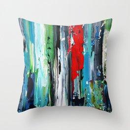 stripe red aqua Throw Pillow