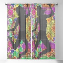 Music and Dance Is Life Motif Sheer Curtain