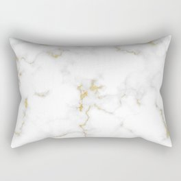 Fine Gold Marble Natural Stone Gold Metallic Veining White Quartz Rectangular Pillow