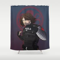 winter soldier Shower Curtains featuring Winter Soldier  by Inkforwords